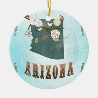 Carte de l'Arizona avec de beaux oiseaux Ornement