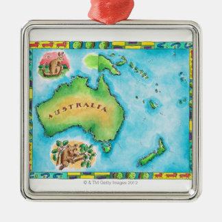 Carte de l'Australie 2 Ornement Carré Argenté