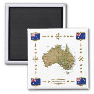 Carte de l'Australie + Aimant de drapeaux