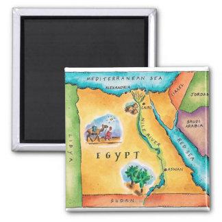Carte de l'Egypte Magnet Carré
