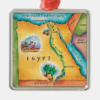 Carte de l'Egypte Ornement Carré Argenté