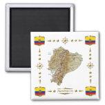 Carte de l'Equateur + Aimant de drapeaux