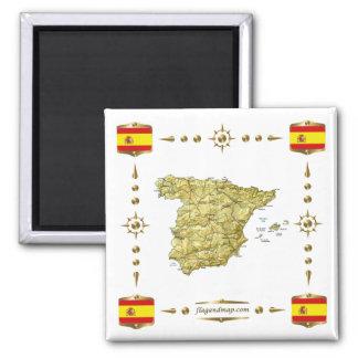 Carte de l'Espagne + Aimant de drapeaux