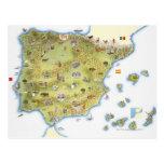 Carte de l'Espagne et du Portugal Carte Postale