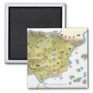 Carte de l'Espagne et du Portugal Magnet Carré