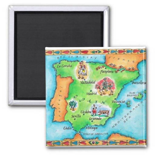 Carte de l'Espagne Aimants Pour Réfrigérateur