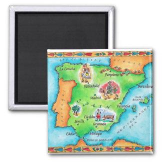 Carte de l'Espagne Magnet Carré