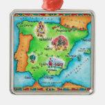 Carte de l'Espagne Ornement Carré Argenté