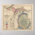 Carte de l'état du Michigan Posters