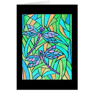 Carte de libellules en verre souillé