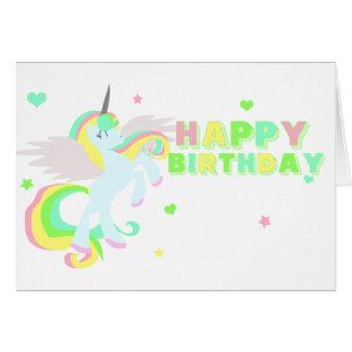 Carte de licorne de joyeux anniversaire