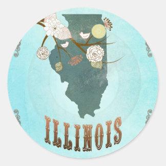 Carte de l'Illinois avec de beaux oiseaux Sticker Rond