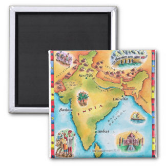 Carte de l'Inde Magnet Carré