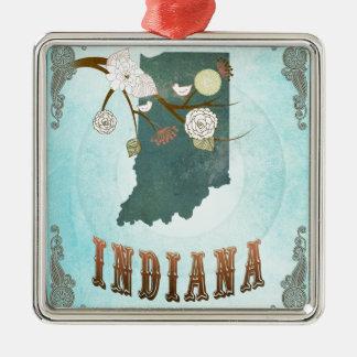 Carte de l'Indiana avec de beaux oiseaux Ornement Carré Argenté
