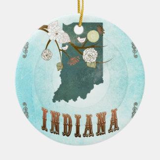 Carte de l'Indiana avec de beaux oiseaux Ornement Rond En Céramique