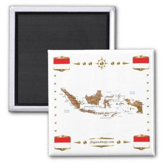 Carte de l'Indonésie + Aimant de drapeaux