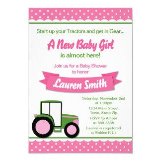 Carte de l'invitation 5x7 de baby shower de fille