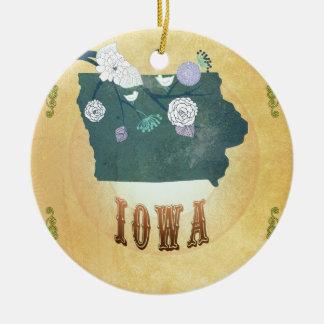Carte de l'Iowa avec de beaux oiseaux Décoration De Noël