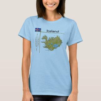 Carte de l'Islande + Drapeau + T-shirt de titre