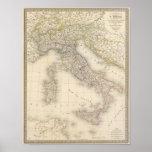 Carte de l'Italie Affiche