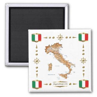 Carte de l'Italie + Aimant de drapeaux