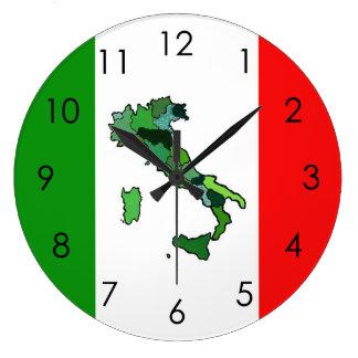 Carte de l'Italie et du drapeau italien Grande Horloge Ronde