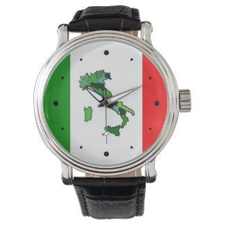 Carte de l'Italie et du drapeau italien Montres