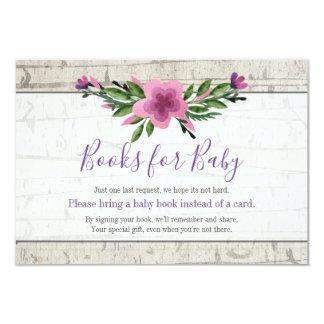 Carte de livre pourpre en bois rustique de baby