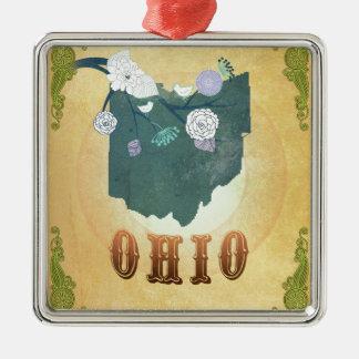 Carte de l'Ohio avec de beaux oiseaux Ornement Carré Argenté