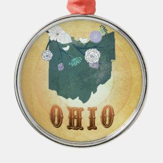 Carte de l'Ohio avec de beaux oiseaux Ornement Rond Argenté