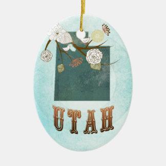 Carte de l'Utah avec de beaux oiseaux Décorations Pour Sapins De Noël