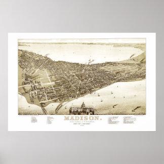 Carte de Madison, le Wisconsin à partir de 1885 Poster