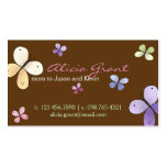 Carte de maman de papillon modèles de cartes de visite
