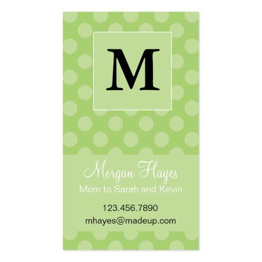 Carte de maman de polka de chaux modèle de carte de visite