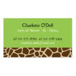 carte de maman de vert d'impression de girafe carte de visite