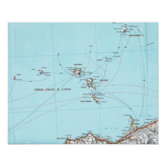 carte de mappa d'eolie d'isole poster
