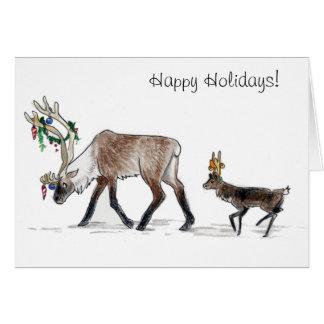 Carte de marche de renne bonnes fêtes