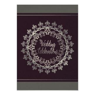 Carte de mariage chique de gris et de prune carton d'invitation  12,7 cm x 17,78 cm