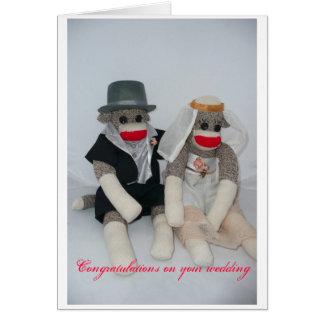 Carte de mariage de singe de chaussette