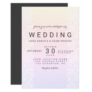 Carte de mariage élégante d'aquarelle de dentelle