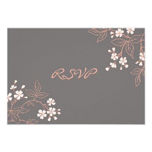 Carte de mariage florale grise de corail de RSVP Invitation Personnalisée