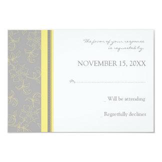 Carte de mariage florale grise du citron RSVP Carton D'invitation 8,89 Cm X 12,70 Cm