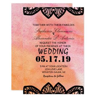 Carte de mariage moderne de coeurs de dentelle de