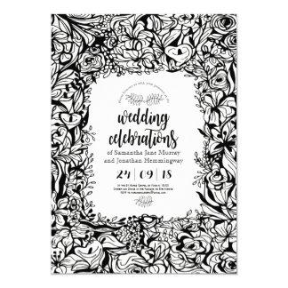 Carte Carte de mariage noire et blanche florale de