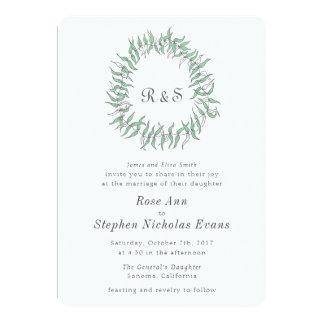 Carte de mariage rustique de guirlande d'élégance carton d'invitation  12,7 cm x 17,78 cm