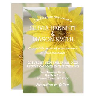 Carte de mariage texturisée de tournesol vintage carton d'invitation 8,89 cm x 12,70 cm