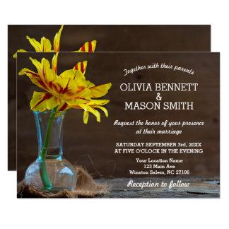 Carte de mariage texturisée en bois rustique de carton d'invitation 8,89 cm x 12,70 cm