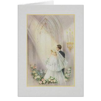 Carte de mariage vintage d'église