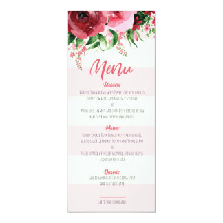 Carte de menu de baby shower florale