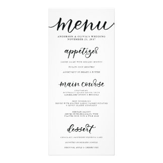 Carte de menu de calligraphie